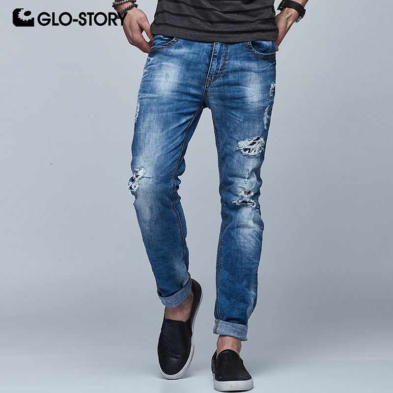 GLO-STORY Mens Full Length Soft Straight Jean Pants Men 2018 Hiphop Distressed Ripped Jeans Homme Masculino Denim Pant 6251
