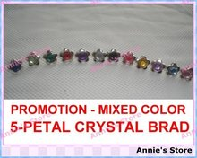 PROMOTION Wholesale Crystal Brads Mixed Color 5 Petal Flower Scrapbooking Wedding Favors Photo Album Card DIY Free Shipping