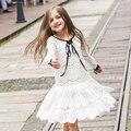 Vestidos de las muchachas del Cordón 2016 del Resorte de Los Niños Ropa de Niños Vestidos de La Princesa de Manga Larga Estilo de la Boda Fiesta de navidad