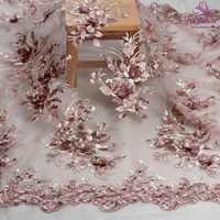 La Belleza nuovo disegno del merletto, rosa Scuro 3D tessuto fiori di pizzo, rosa rosa 3D fiori di pizzo tessuto di pizzo del vestito da sera in tessuto 1 yard