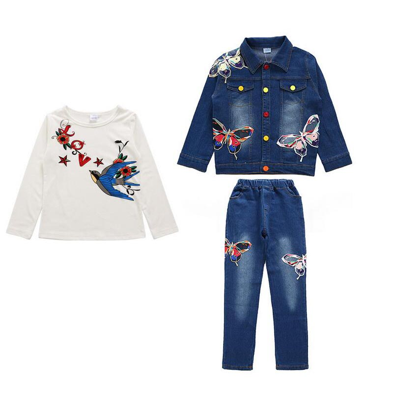 3 Pieces Teen Girls Boys Butterfly owl Jeans Clothing Set 2018 New Denim Tracksuits Bling Vintage Coats Jackets + Pants + Tees