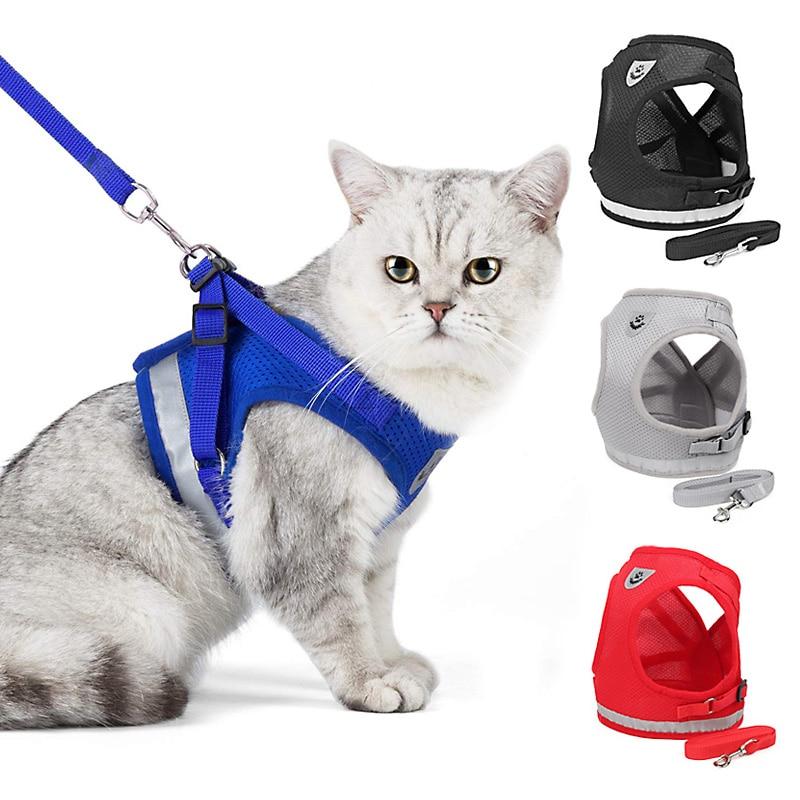 Светоотражающая шлейка и поводок для кошек, нейлоновая сетчатая жилетка для котят и щенков, предметы одежды для маленьких собак, Йорков, Моп...