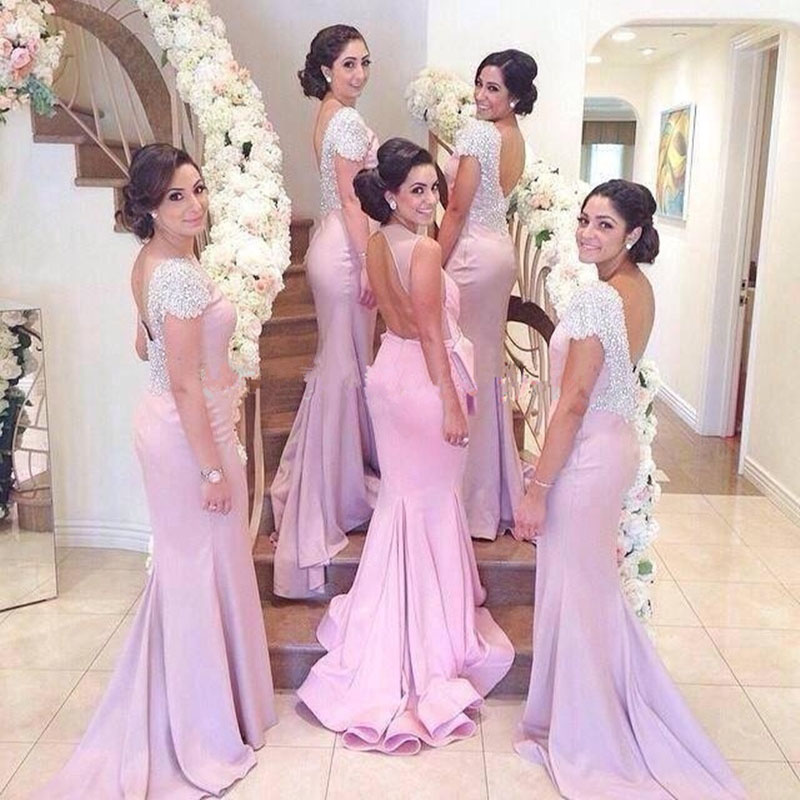 Vestido de Madrinha Casamento Unique Mermaid Pink Long Lace   Bridesmaid     Dresses   2020 V Back Beaded Wedding Party   Dresses