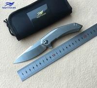 NIGHTHAWK Zt0095 Flipper Folding Knife Titanium Handle D2 Blade Camping Hunting Survival Outdoor Pocket Fruit Knives