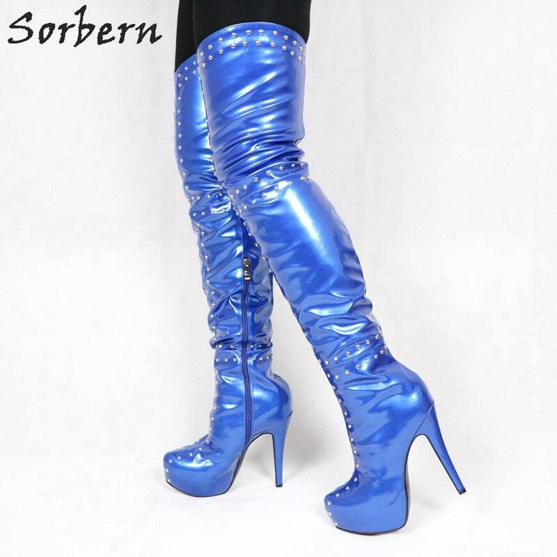 e24b82eb16a Sorbern Royal Blue Rivets Over The Knee Boots For Women Mid Thigh High Heel  Platform Boots Custom Calf Thigh Women Shoes 2019