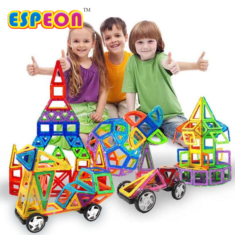 Espeon 77 PCs Normal Size Kids Toys Enlighten Bricks Educational Magnetic Designer Toy Square Triangle 3D DIY Building Blocks mylitdear normal size magnetic designer set 58pcs 3d magnetic construction building toy educational diy bricks toys for children