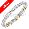 Channah 2017 Ladies 2-Tone Gold 24pcs Crystals Magnetic Bracelet Free Shipping Bio jewellery Female Women Bangle Charm