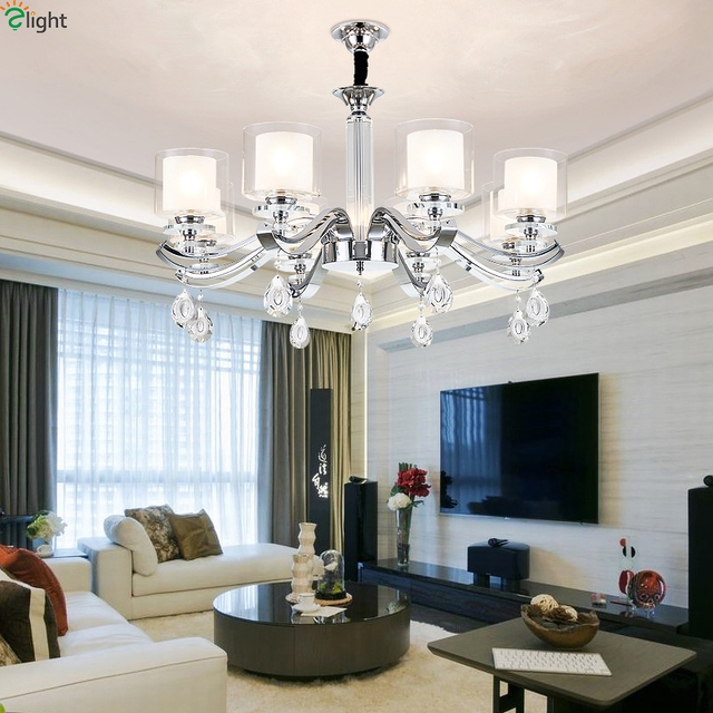 Modern Chrome Metal Led Chandeliers Lighting Living Room Glass Led Pendant  Chandelier Lights Dining Room Hanging