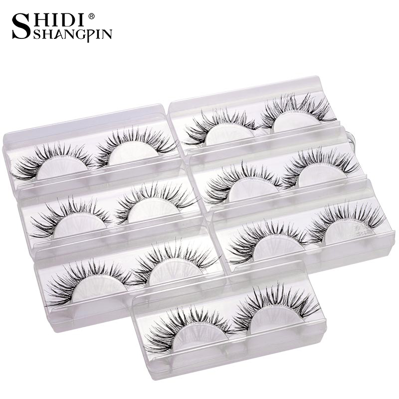 7 Pairs False Eyelashes Natural Long Eyelash Extension Kit Makeup Fake Eyelashes Winged Fake Eye Lashes Wispies Lashes V02