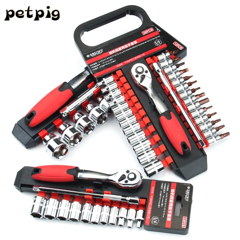 Car Repair Tool Set 22pcs 1/4 Inch Ratchet Wrench Set Hand Socket Set Released  Handle And Extension Bar Tool For Car Repair