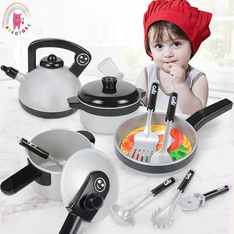 US $20.69 33% OFF|Big Size Kids Kitchen Set Classic Pretend Play Kitchen  Simulation Utensils Toy Cooking Pots Saucepan House Game Children Gift-in  ...