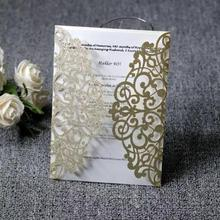 Luxury Glitter Wedding Invitation Card Gold Silver Laser cut Invitations Blank sheet Thank you cards 10pcs/lot