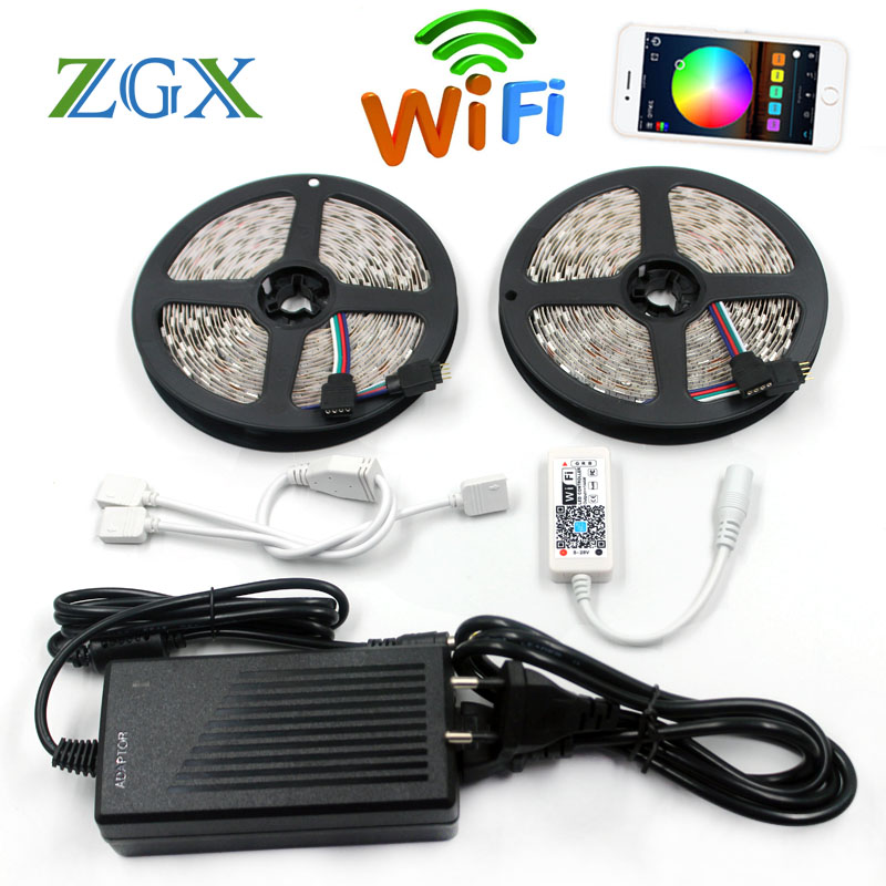 ZGX SMD 5050 WiFi LED Strip RGB 5M 10M 60led/m Light Flexible Tape ribbon string IP 65 Waterproof DC 12V adapter set indoor 220V 10m smd 5050 rgb led strip set 60led m flexible tape home decoration lighting 44keys ir controller 12v 10a power supply adapter