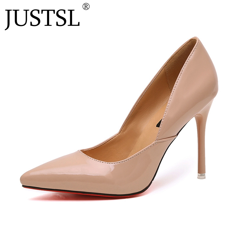 JUSTSL 2018 Spring Sexy thin heels Womens shoes Sexy Nude color pointed Toe female Pumps Wedding Shallow ladies shoesJUSTSL 2018 Spring Sexy thin heels Womens shoes Sexy Nude color pointed Toe female Pumps Wedding Shallow ladies shoes