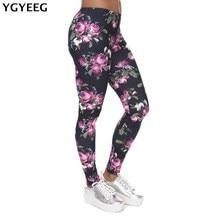 YGYEEG New Women Leggings Retro Roses Printing Fitness legging Elegant Sexy Elasticity Leggins High Waist Legins Trouser Pants