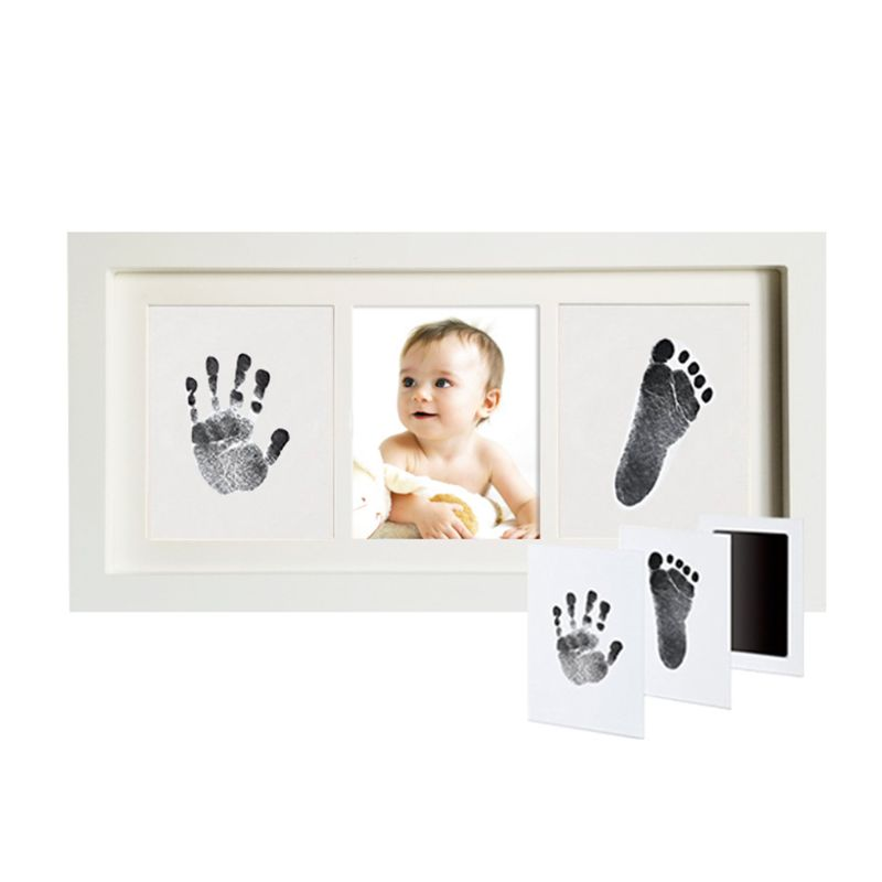 Pearhead Babyprints Newborn Baby Handprint and Footprint Photo Frame White