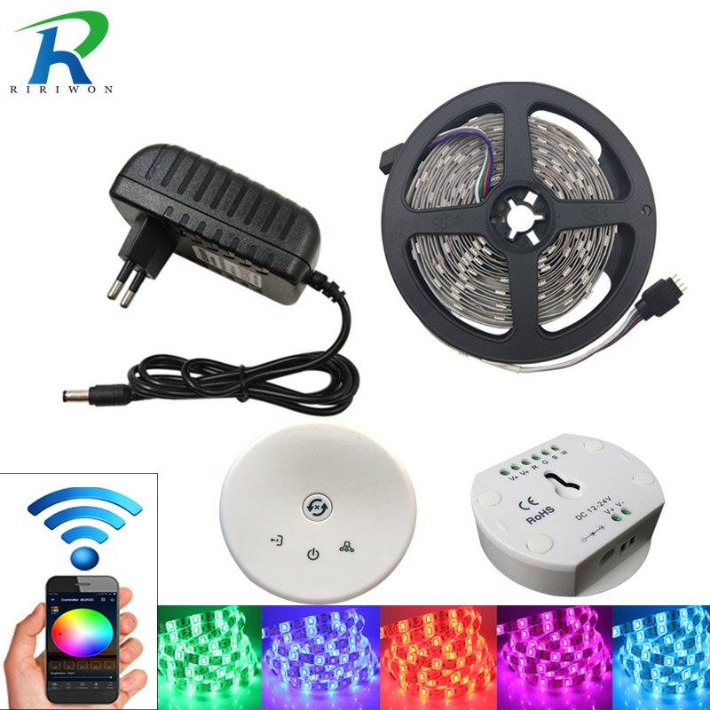 RGB Светодиодные ленты свет Водонепроницаемый SMD 5050 светодиодный rgb Клейкие ленты 4 м 5 м 8 м 10 м DC12V гибкая лента диод Клейкие ленты + НЛО Wi-Fi конт...