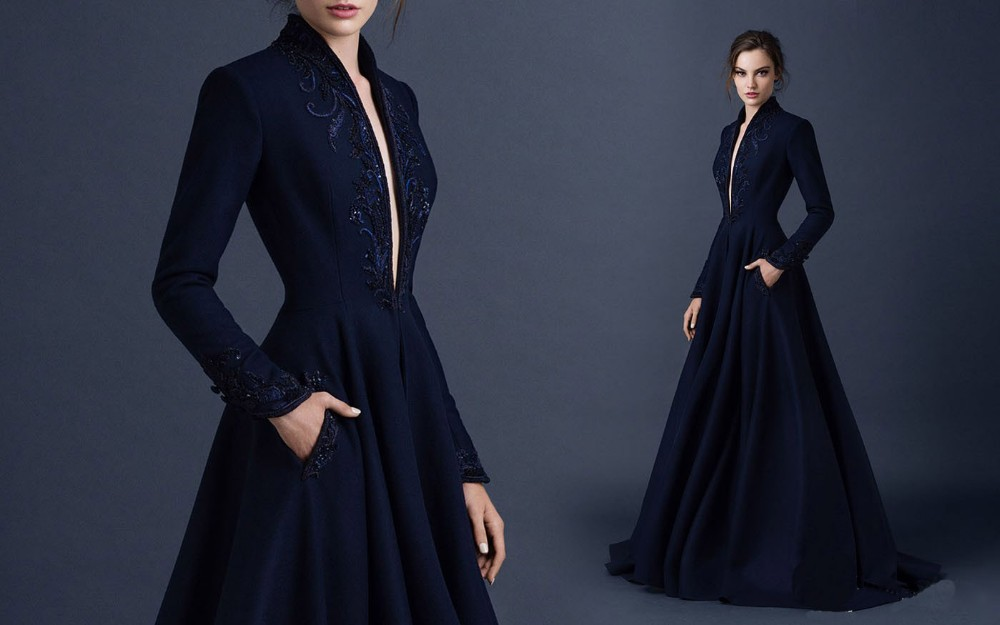 2018 Sexy Deep V-neck Navy Blue Satin Long Sleeve Evening Gown Beading Embroidery Vestido De Noiva Reputation First