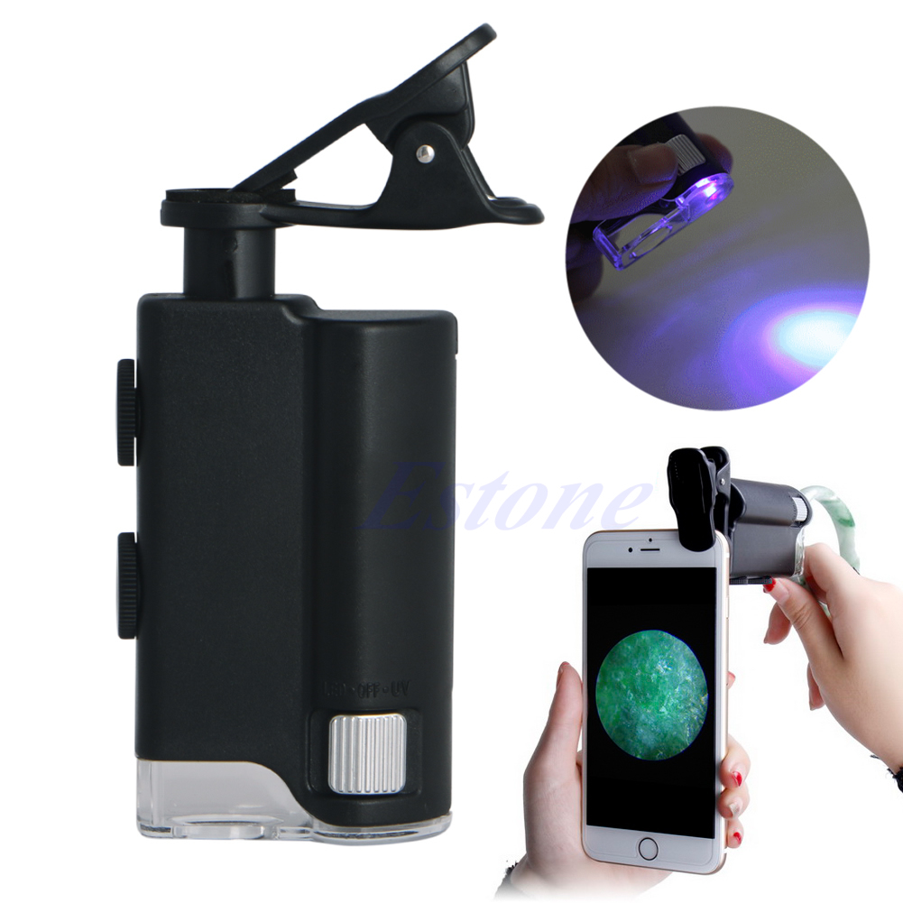 ANENG 60X-100X LED Zoom Universal Jeweler Magnifier Clip Microscope Lens UV For iPhone