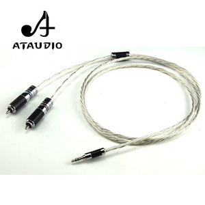 Image 3 - ATAUDIO Hifi Silver plated 3.5mm to 2rca Cable Hi end 3.5 Aux to Double RCA MP3/MP4  Computer Amplifer Interconnector Cable
