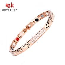 Oktrendy Health Magnetic Bracelets for Women Rose Gold Color Bracelet Female Stainless Steel Chain Link Bangles 034