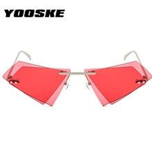 YOOSKE Rimless Cat Eye Sunglasses Men Women Cool Brand Designer Small Size Triangle Sun Glasses Candy Colors Double Lens UV400