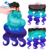 Sapphire Remy Hair Ombre Color 1B/ bluepurple Hair Wefts 3 Bundle with 13*4 Ear to Ear Lace Frontal Brazilian Human Hair