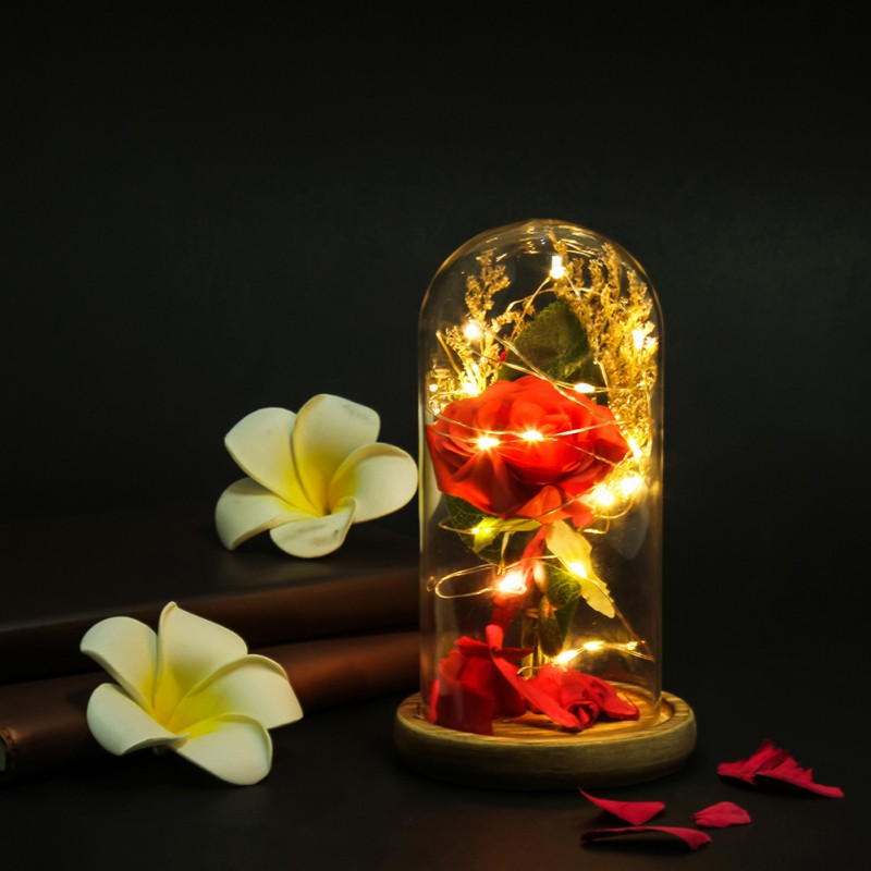 Exclusive Rose In Glass Dome With Lights Valentine's Gifts - Real Rose, Beauty And The Beast Preserved Rose LED Rose Lamps