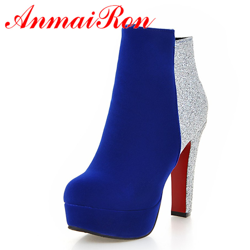 ФОТО ANMAIRON Zippers Sexy High Heels Round Toe Platform Winter Boots Shoes Woman 3 Colors Red Ankle Boots for Women Motorcycle Boots