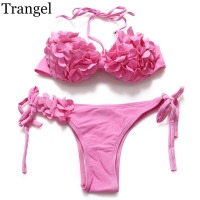 Trangel 2017 Women Bikini Set Floral Swimwear Low Waist Push Up Swimsuit Halter Swimwear Pink Color