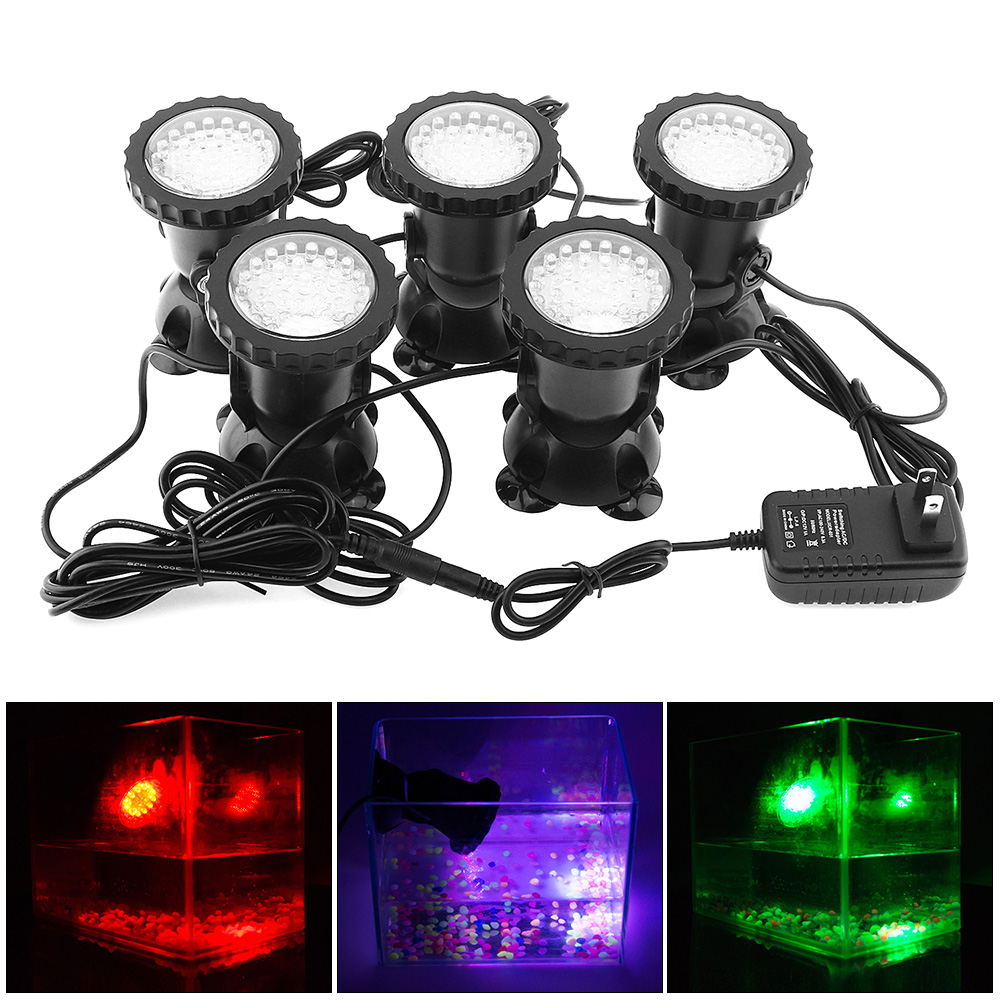 5pcs 12V LED Underwater Spotlight Lamp 7 Colors Changing Waterproof Spot Light for Garden Fountain Fish