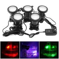5pcs 12V LED Underwater Spotlight Lamp 7 Colors Changing Waterproof Spot Light for Garden Fountain Fish Tank Pool Pond Lighting