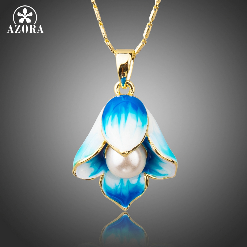 AZORA Gold Color New Long Link Chain Oil Painting Pattern Pearl Flower Pendant Necklaces for Women TN0205 marulong s0002 women s fashionable flower pattern short sleeved nightdress green multi color