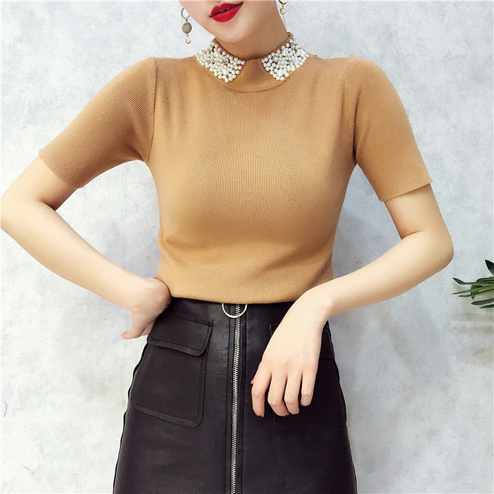 ALPHALMODA 18 Summer Ladies Short-sleeved Pearl Collar Pullovers Casual Slim Knit Sweater Women Studded Fashion Jumpers 26