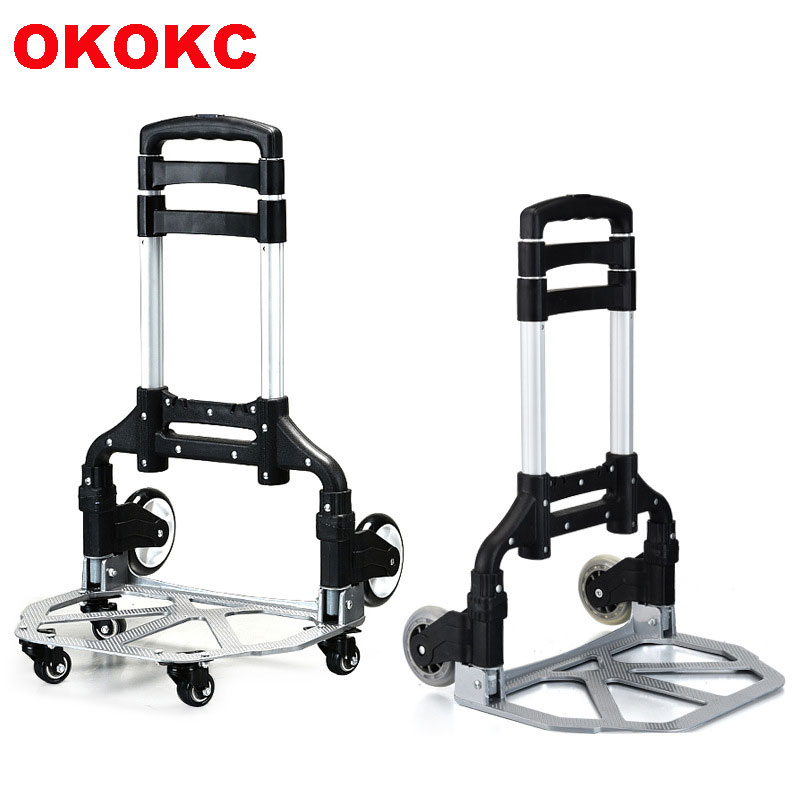 цены OKOKC Upgraded Version Portable Folding Shopping Cart Supermarket Trailer 4 Wheel Rolling Cart Travel Accessoires