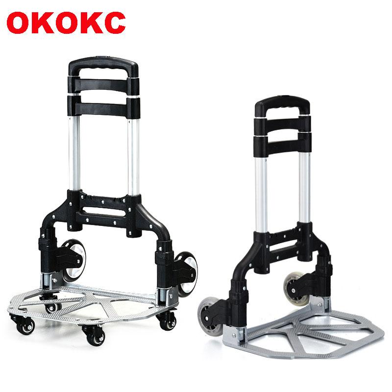 OKOKC Upgraded Version Portable Folding Shopping Cart Supermarket Trailer 4 Wheel Rolling Cart Travel Accessoires