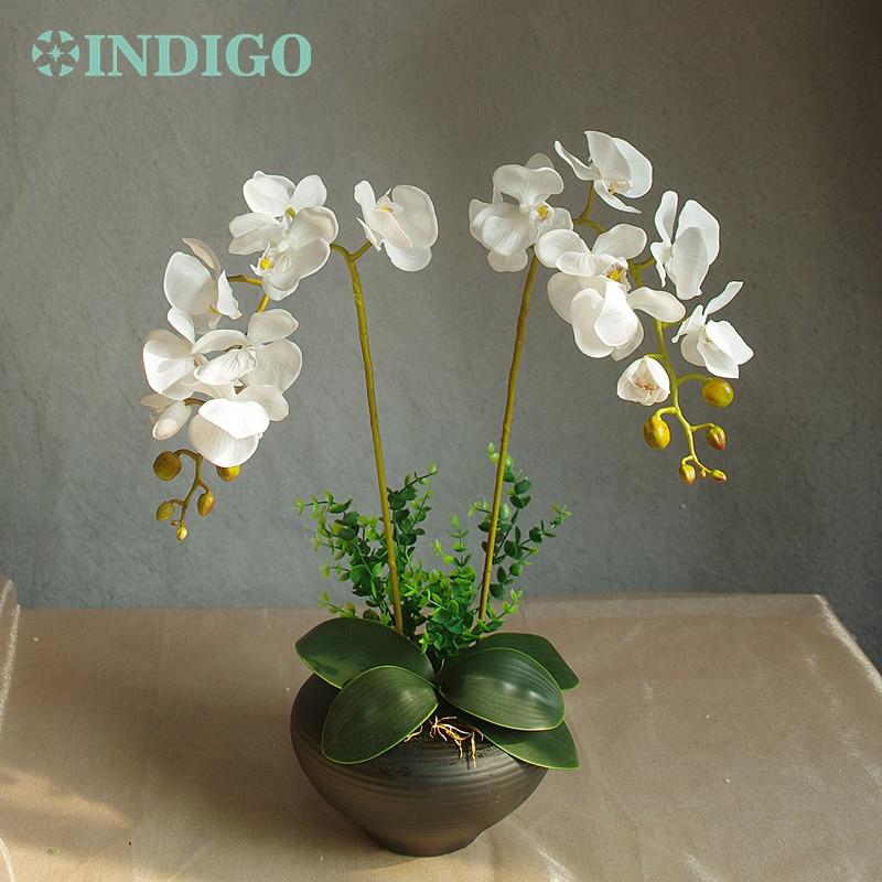 INDIGO- balts orhideju ziedu izkārtojums (2gab. Orhideja + 2 lapas) Īsts ziedu kāzu svinības galda rotājumi Pasākums Bezmaksas piegāde