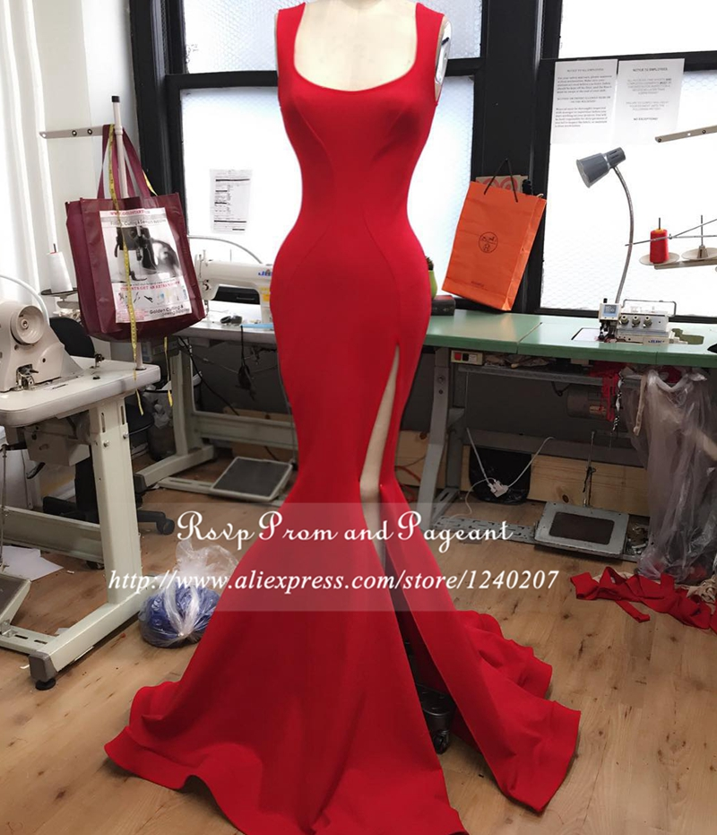 Real Photos Long Red Mermaid Prom Dresses Slit Square Neck Sleeve Stretch Satin Floor Length Prom
