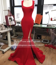 Real Photos Long Red Mermaid Prom Dresses Slit Square Neck Sleeve Stretch Satin Floor Length Prom Dress 2017