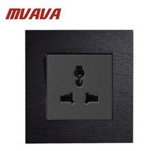 цены MVAVA 86*90MM 3 Pin Multifunction Socket Black Artificial Wood Panel Wall Light Switch 13A AC110~250V UK/EU Standard Socket
