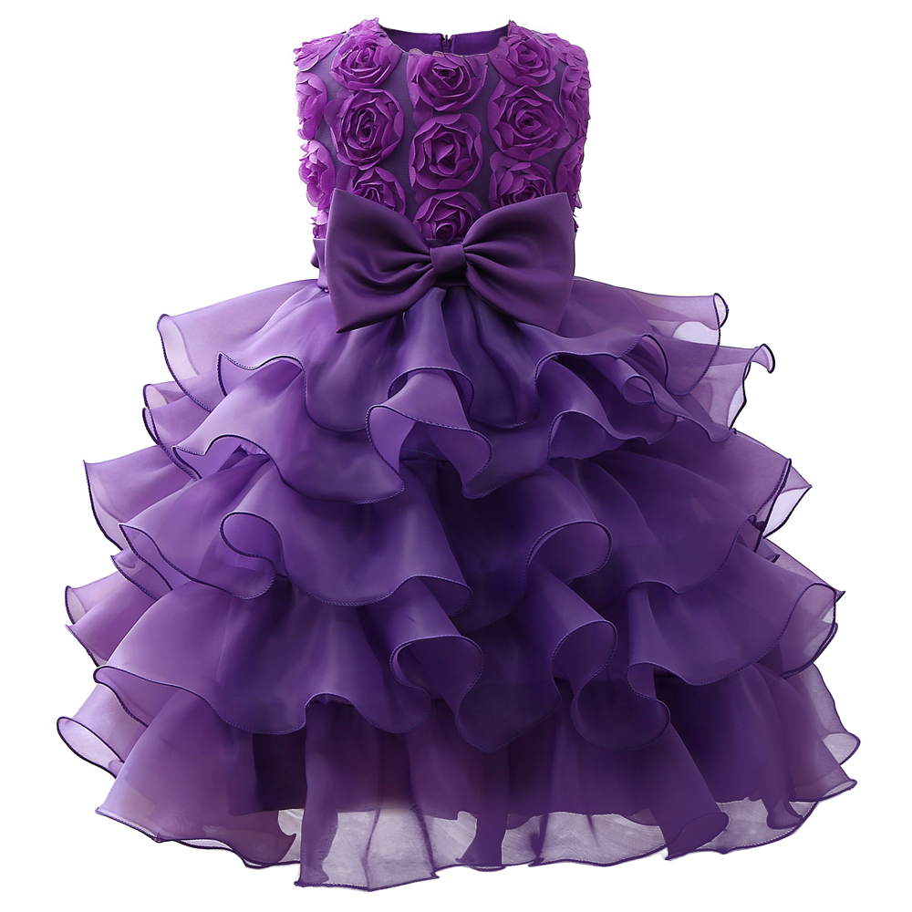 Flower Purple Dress For Wedding Kids Clothes Party Prom Wear Children Graduation Gown Formal Vestidos Size 8 In Dresses From Mother