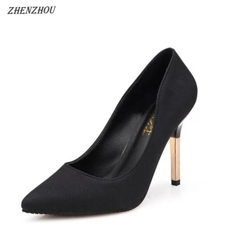 ZHENZHOU woman Pumps 2018 single shoes shallow mouth pointed toe high-heeled thin heels sexy pink women's high-heeled shoes
