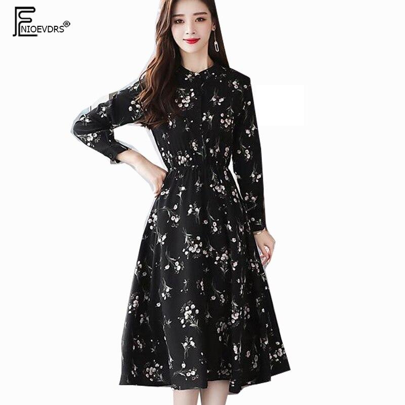 27fe1cc2de 2019 primavera básica Midi vestidos de las mujeres de cintura delgada de  manga larga temperamento Oficina impresión Floral Vintage negro vestido de  gasa