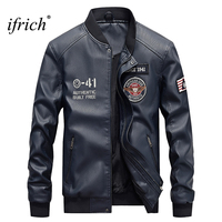 IFRICH Mens Leather Jacket Bomber Jackets Male Military Army Motorcycle Jackets Winter Black Pilot Coat Windbreakers Clothes