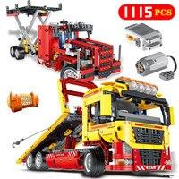 Технология серии бортовой грузовик Совместимость LegoINGLY электродвигателя Мощность Funtions модель автомобиля кирпич блоки детские игрушки