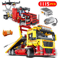 Technology Series Flatbed Truck Compatible LegoINGLY Electric Motor Power Funtions Car Model Brick Blocks Children Toys