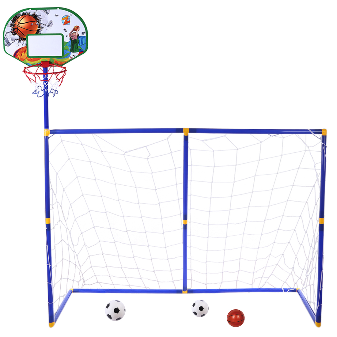 Rowsfire 3 in 1 Children Sports Equipment Football Goal Basketball Stands for Kids Outdoor Toy ZG270 16