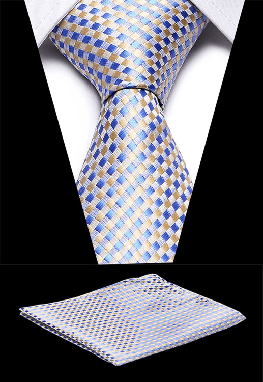Classic Plaid Necktie Handkerchief Set Green  7.5 Cm Silk Woven Men Gift Tie Party Wedding Pocket Square High Quality