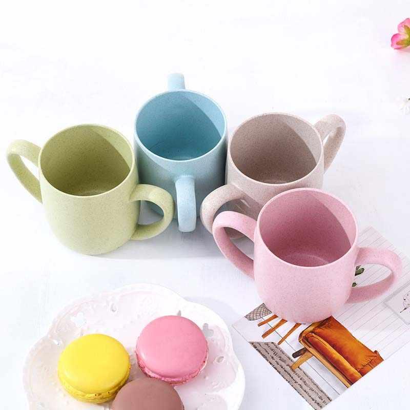 Bebé tazas de 250ML lindo trigo PP alimentación beber vasos con mango de la naturaleza Material seguro niños taza para la leche tazas