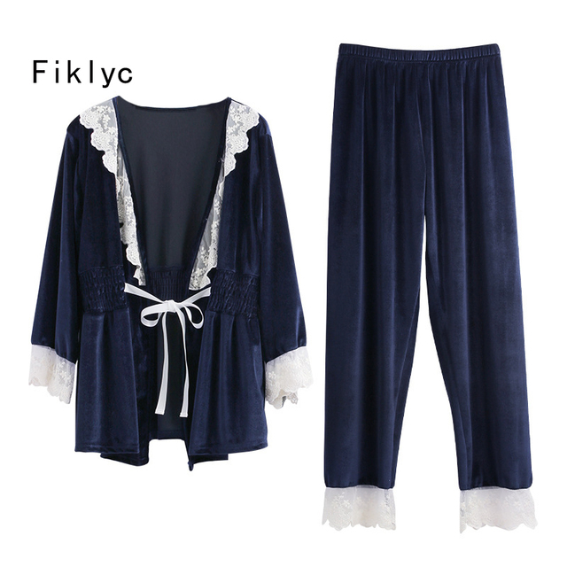 c7bc02d57d Fiklyc brand two pieces women s velvet pajamas sets high quality female  autumn   winter long sleeve pyjamas sets with lace hot